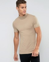 Asos Extreme Muscle T-shirt With Roll Neck In Beige