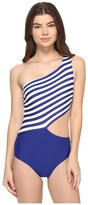 MICHAEL Michael Kors Stable Stripe One Shoulder Cut Out One-Piece Women's Swimsuits One Piece