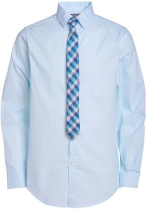 Van Heusen Boys 10-20 Husky Diamond-Print Button-Up Shirt & Tie Set