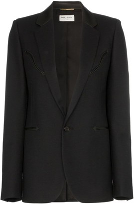 Saint Laurent Blazer With Leather Trims