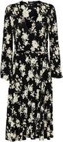 Wallis Monochrome Floral Print Wrap Midi Dress