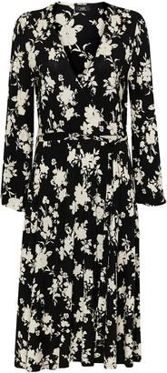 Wallis Monochrome Floral Print Jersey Wrap Dress