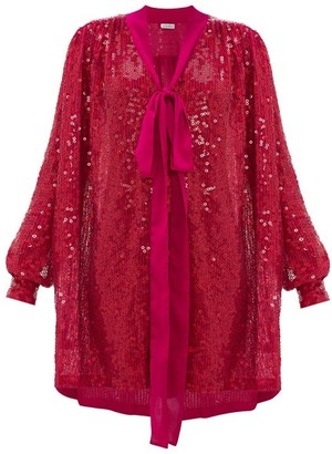 Ashish Pussy-bow Sequinned Dress - Fuchsia