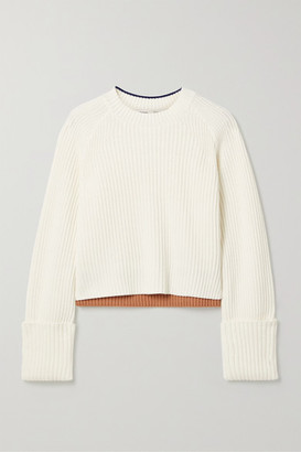 Proenza Schouler White Label Striped Ribbed Cotton And Wool-blend Sweater