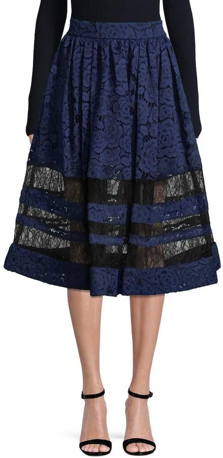 Alice + Olivia Women's Tamia Lace Como A-line Skirt