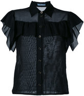 Blumarine ruffled fitted blouse - women - Silk/Cotton - 42