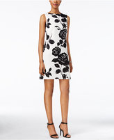 Jessica Howard Sleeveless Textured Floral-Print Shift Dress