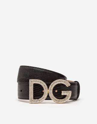 Dolce & Gabbana Belt In Iguana Print Calfskin