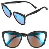 Quay Women's 'My Girl' 50Mm Cat Eye Sunglasses - Black/ Blue Mirror