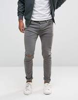 ONLY & SONS Jeans Skinny with Rips in Dark Gray