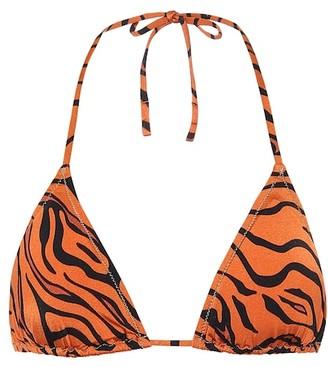 Reina Olga Love tiger-print bikini top