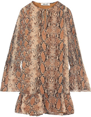 Diane von Furstenberg Skye Shirred Snake-print Silk-georgette Mini Dress
