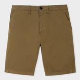 Paul Smith Men's Khaki Garment-Dyed Stretch-Cotton Shorts