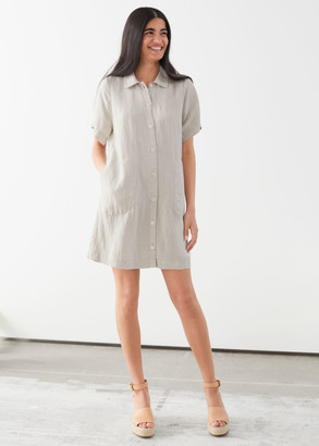 And other stories Button Up Linen Mini Dress