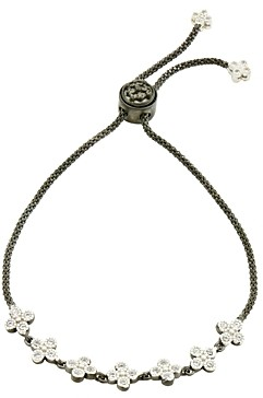 Freida Rothman Adjustable Clover Strand Bracelet in Rhodium-Plated & Platinum-Plated Sterling Silver