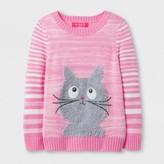 u-knit girls U-Knit Toddler Girls' Cat Pullover Sweater - Pink