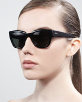 Cat-Eye Sunglasses, Black/Green