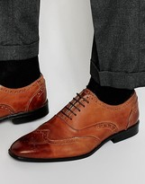 Asos Oxford Brogue Shoes in Brown Polish Leather