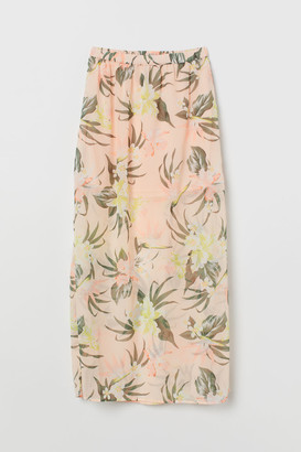 H&M Long Chiffon Skirt - Orange