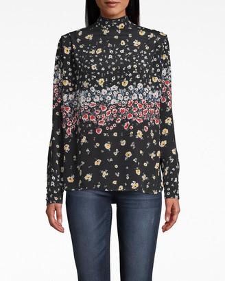 Nicole Miller Ashbury Floral Silk Shoulder Flange Blouse