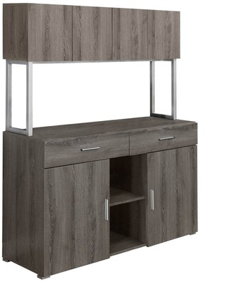 "Offex 48""L Reclaimed Wood Office Storage Credenza Cabinet, Dark Taupe"
