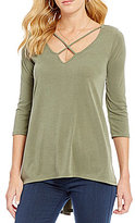 Moa Moa Criss Cross Neckline Top