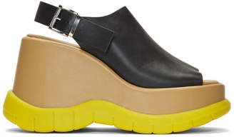 Sunnei Black and Yellow Platform Sandals