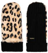 Miu Miu Leopard-print Calf Hair And Cashmere Mittens - Leopard print