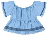 Tractr Girl's Ruffle Chambray Top