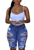 Dokotoo Womens Casual Denim Destroyed Bermuda Shorts Jeans Medium