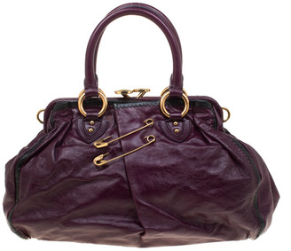 Marc Jacobs Purple Leather Safety Pin Stam Top Handle Bag