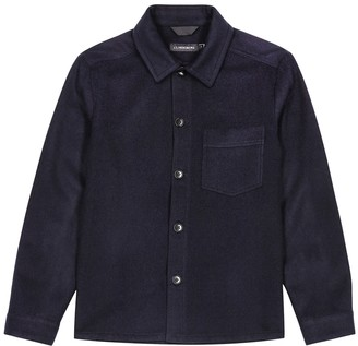J. Lindeberg Navy wool-blend felt overshirt