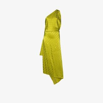 ATTICO One-Shoulder Asymmetric High-Slit Dress
