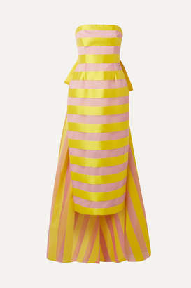 Lela Rose Bow-embellished Striped Organza And Satin Midi Dress - Bright yellow