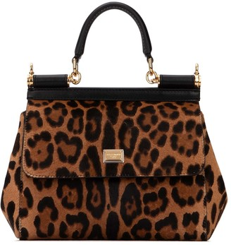 Dolce & Gabbana Sicily Small Leopard Print Tote Bag