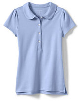 Lands' End Girls Short Sleeve Peter Pan Polo-White