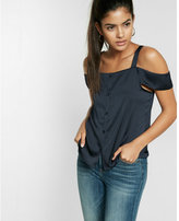 Express cold shoulder button front tank
