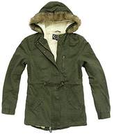 Ambiance Women's Military Army Hooded Sherpa Lining Drawstring Parka Jacket Coat