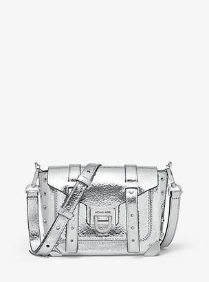 MICHAEL Michael Kors Manhattan Small Crackled Metallic Leather Crossbody Bag