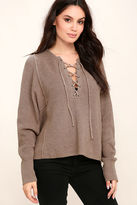Do & Be Yours Always Taupe Lace-Up Sweater