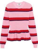 MSGM Striped Cotton Peplum Sweater
