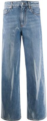 MSGM Bleach-Effect Straight Leg Jeans