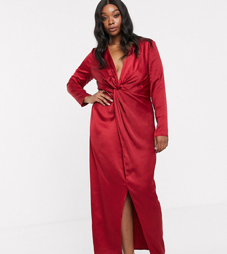 Little Mistress Plus satin wrap maxi dress in ruby