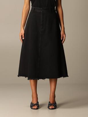 Balenciaga Flared Denim Skirt