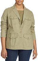 Lauren Ralph Lauren Plus Cotton Canvas Military Jacket