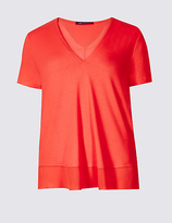 M&S Collection Lace Neckline Short Sleeve Jersey Top