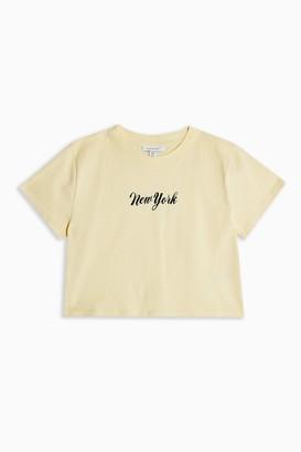 Topshop Womens Yellow New York T-Shirt - Lemon