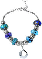 SPARKLE ALLURE Dazzling Designs Blue Artisan Glass Bead Silver-Plated Heart Bracelet