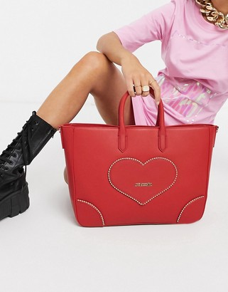 Love Moschino embroidery of love large tote bag in red