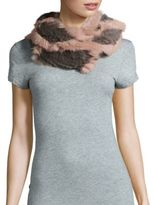 Jocelyn Rabbit Fur Two-Tone Infinity Scarf